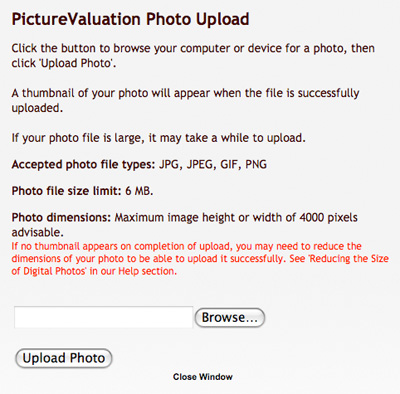PictureValuation Photo Upload Window